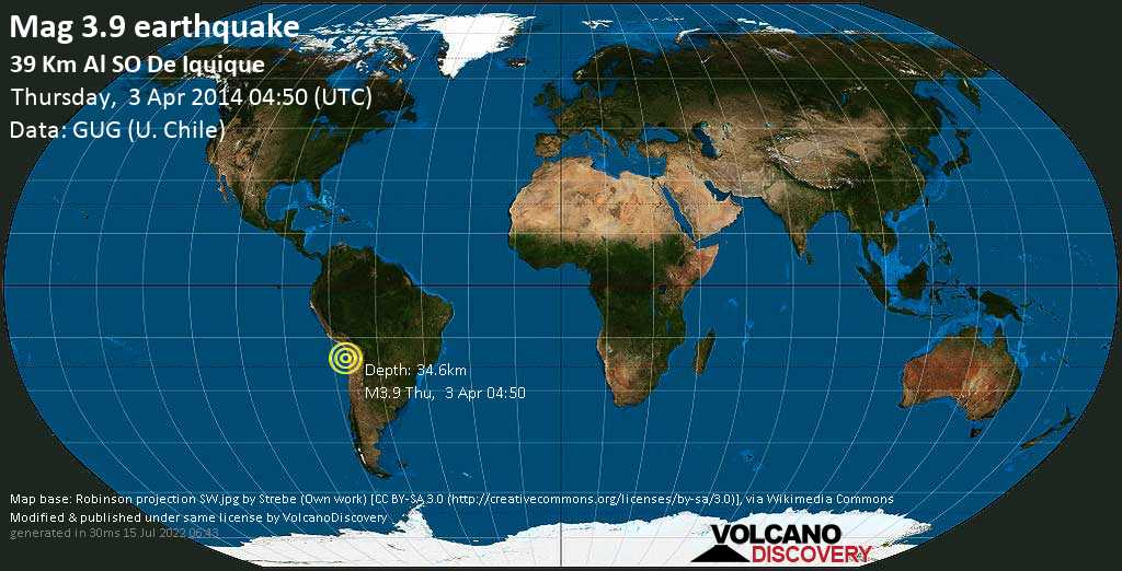 Minor mag. 3.9 earthquake  - 39 km al SO de Iquique on Thursday, 3 April 2014