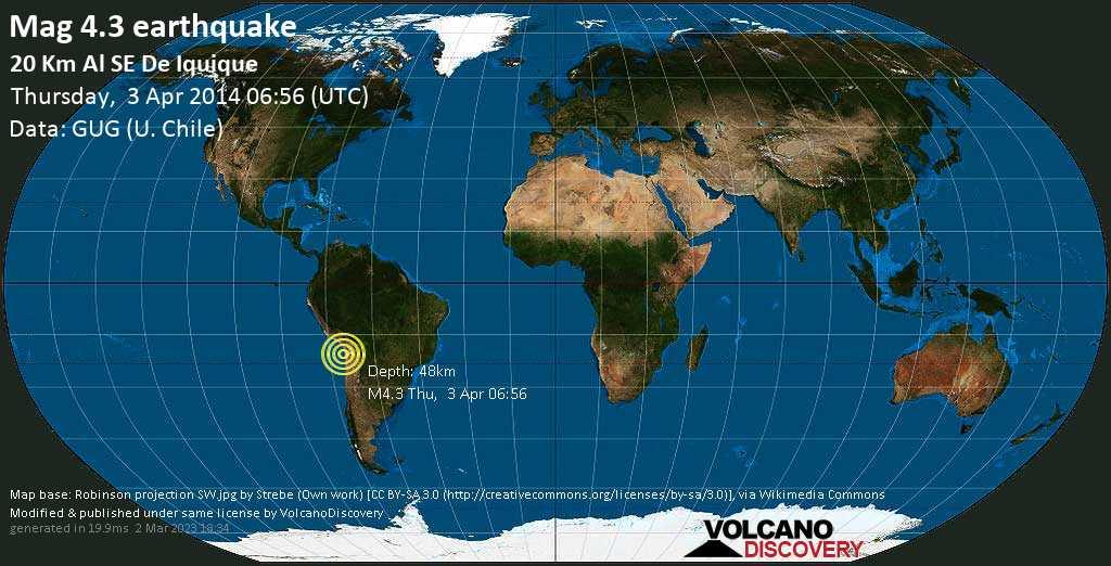 Light mag. 4.3 earthquake  - 20 km al SE de Iquique on Thursday, 3 April 2014
