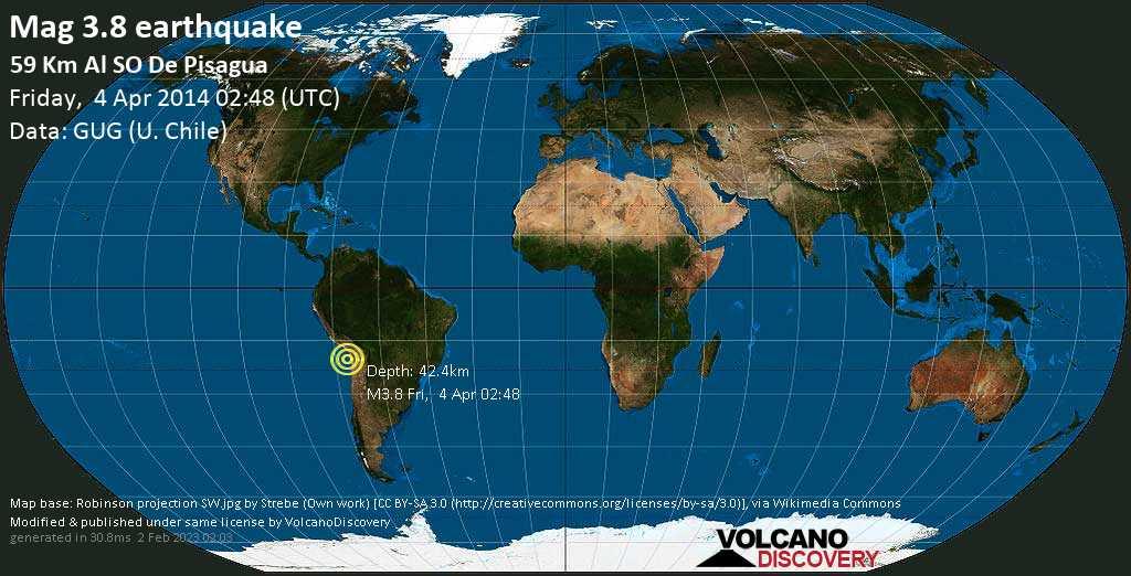 Debile terremoto magnitudine 3.8 - 59 km al SO de Pisagua venerdí, 04 aprile 2014