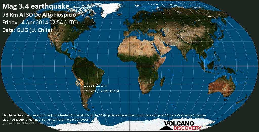 Débil terremoto magnitud 3.4 - 73 km al SO de Alto Hospicio viernes, 04 abr. 2014