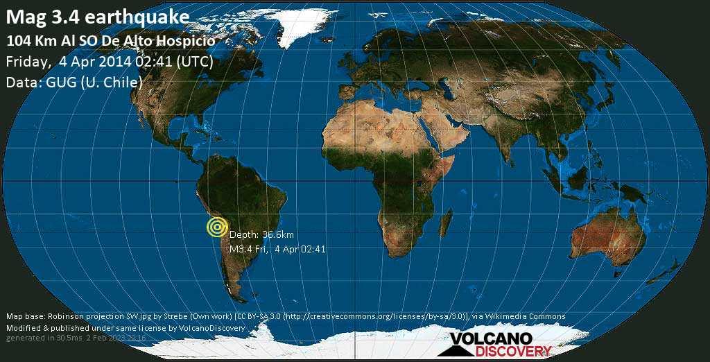 Débil terremoto magnitud 3.4 - 104 km al SO de Alto Hospicio viernes, 04 abr. 2014