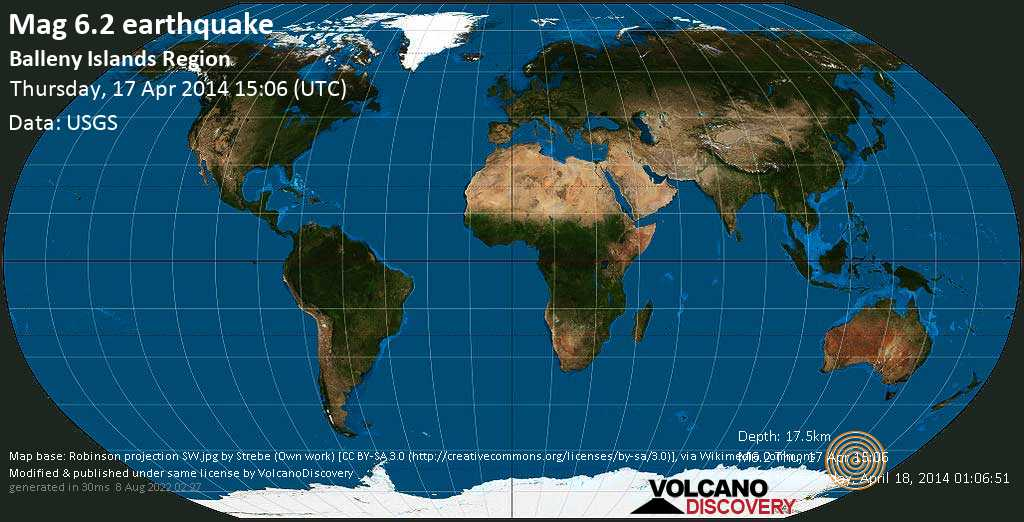 Strong mag. 6.2 earthquake  - Balleny Islands region on Thursday, 17 April 2014