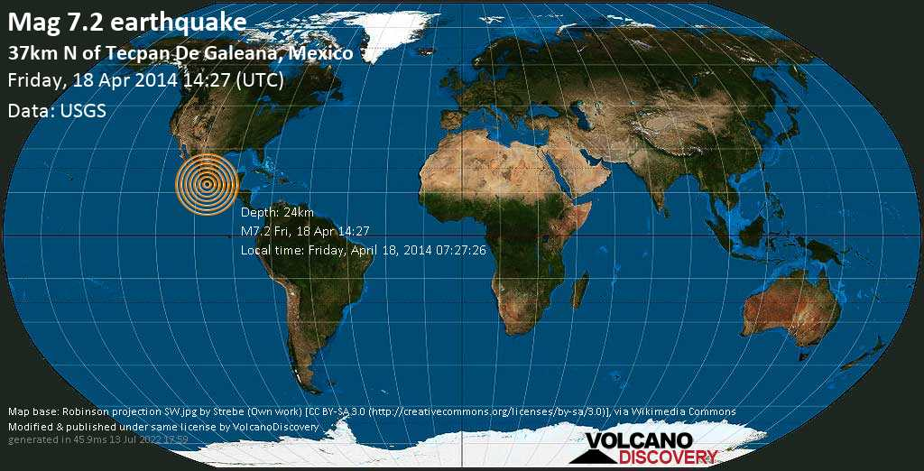 Major mag. 7.2 earthquake  - 37km N of Tecpan de Galeana, Mexico on Friday, 18 April 2014
