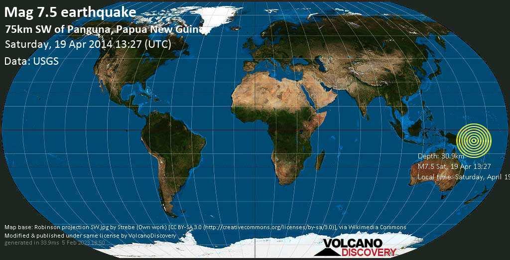Major mag. 7.5 earthquake  - 75km SW of Panguna, Papua New Guinea on Saturday, 19 April 2014
