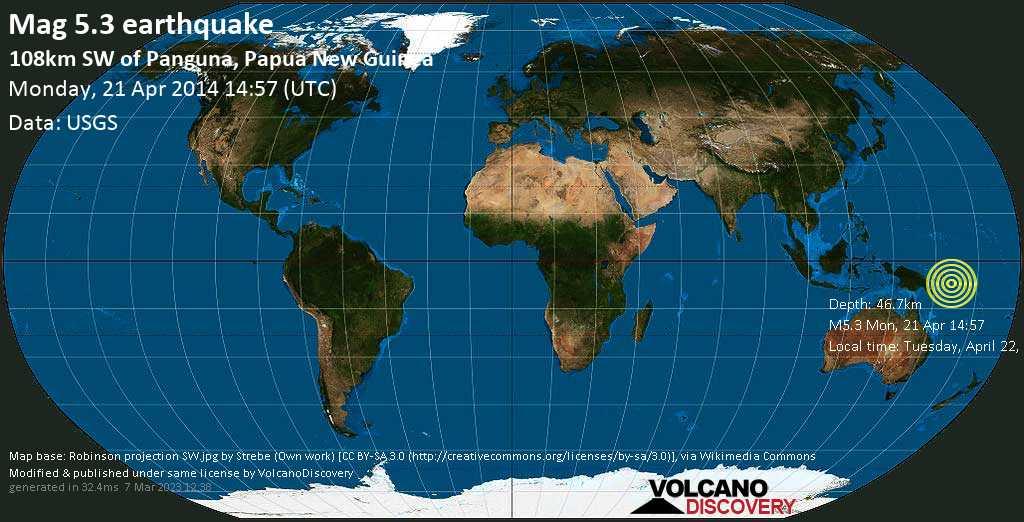 Moderate mag. 5.3 earthquake  - 108km SW of Panguna, Papua New Guinea on Monday, 21 April 2014
