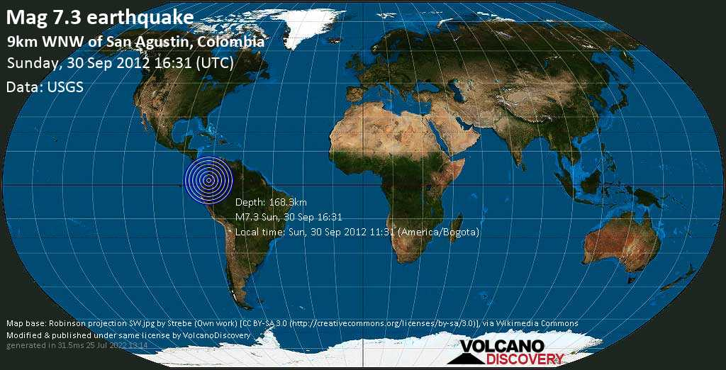 Major mag. 7.3 earthquake  - 9km WNW of San Agustin, Colombia on Sunday, 30 September 2012