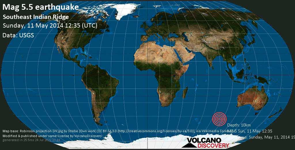Moderate mag. 5.5 earthquake  - Southeast Indian Ridge on Sunday, 11 May 2014