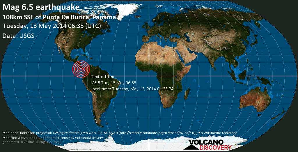 Strong mag. 6.5 earthquake  - 108km SSE of Punta de Burica, Panama on Tuesday, 13 May 2014