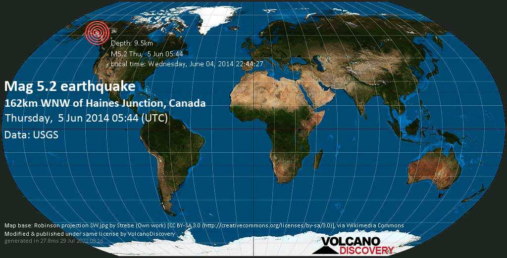 Moderate mag. 5.2 earthquake  - 162km WNW of Haines Junction, Canada on Thursday, 5 June 2014