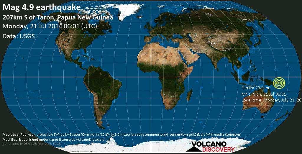 Light mag. 4.9 earthquake  - 207km S of Taron, Papua New Guinea on Monday, 21 July 2014