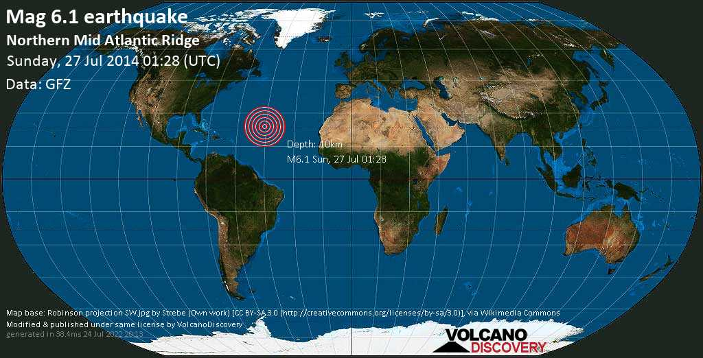 Strong mag. 6.1 earthquake  - Northern Mid Atlantic Ridge on Sunday, 27 July 2014