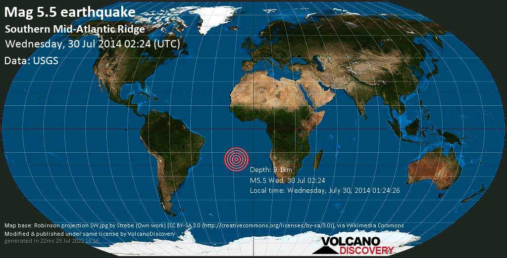 Moderate mag. 5.5 earthquake  - Southern Mid-Atlantic Ridge on Wednesday, 30 July 2014