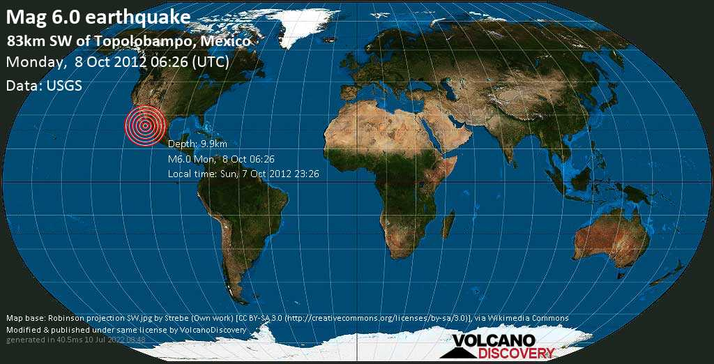 Strong mag. 6.0 earthquake  - 83km SW of Topolobampo, Mexico on Monday, 8 October 2012