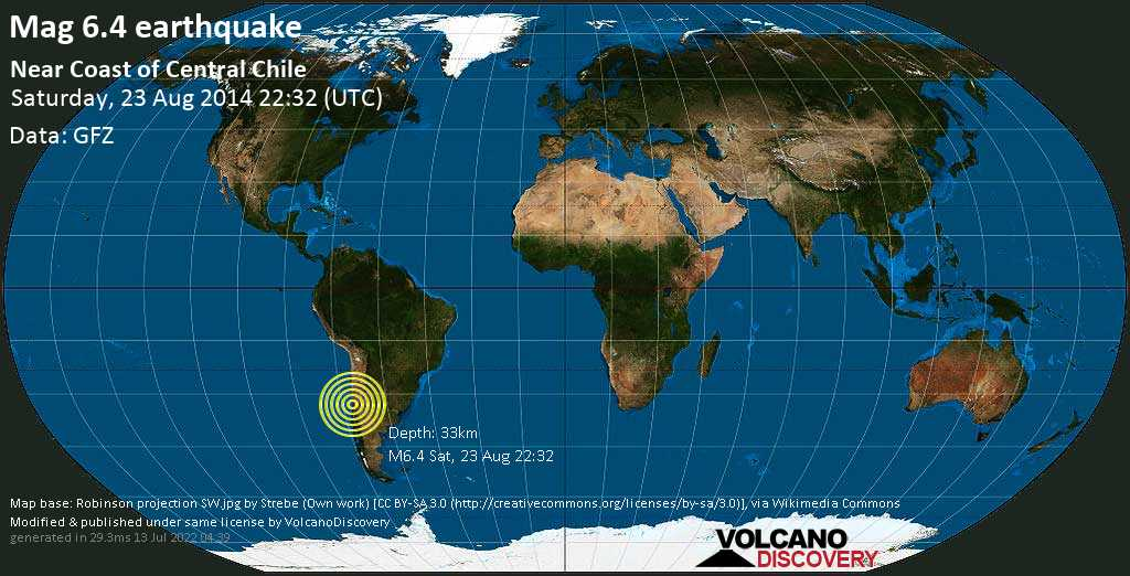 Strong mag. 6.4 earthquake  - Near Coast of Central Chile on Saturday, 23 August 2014