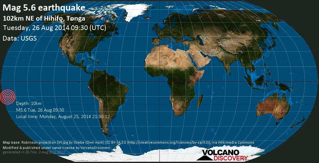 Moderate mag. 5.6 earthquake  - 102km NE of Hihifo, Tonga on Tuesday, 26 August 2014
