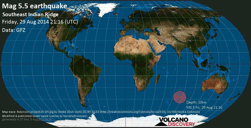 Moderate mag. 5.5 earthquake  - Southeast Indian Ridge on Friday, 29 August 2014