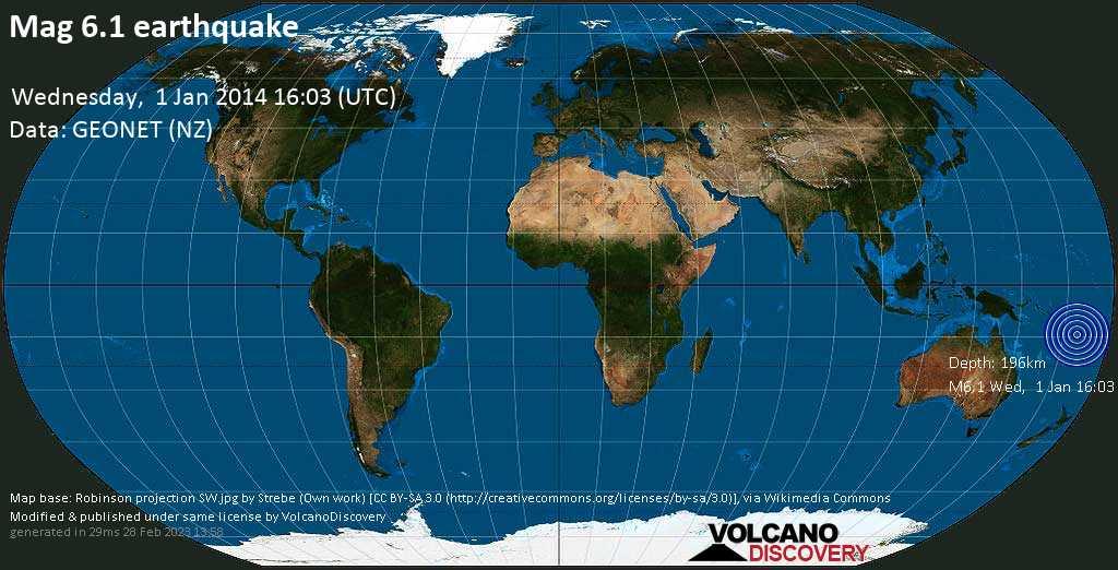 Strong mag. 6.1 earthquake  -  on Wednesday, 1 January 2014