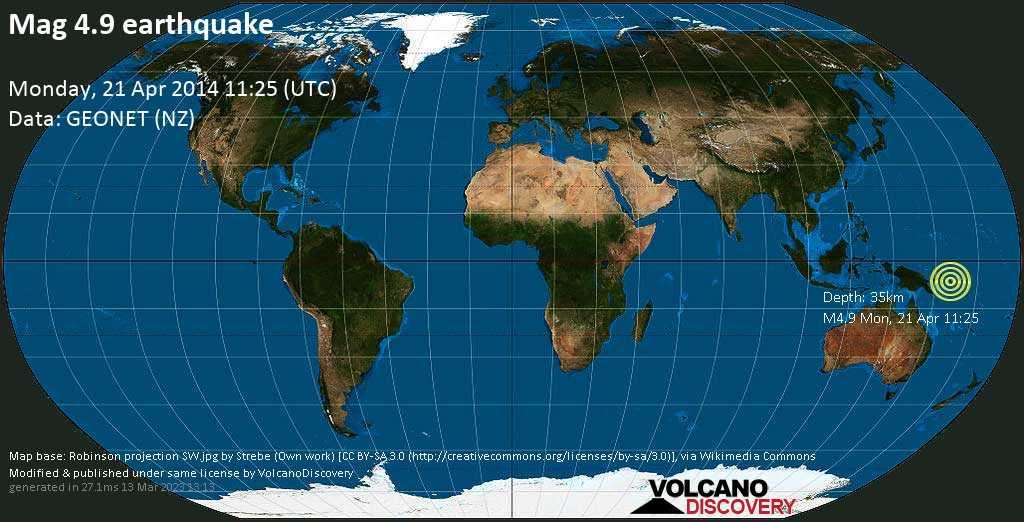 Light mag. 4.9 earthquake  -  on Monday, 21 April 2014
