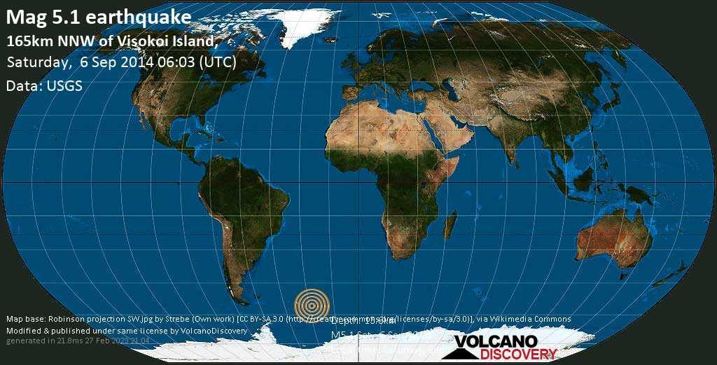 Moderate mag. 5.1 earthquake  - 165km NNW of Visokoi Island, on Saturday, 6 September 2014