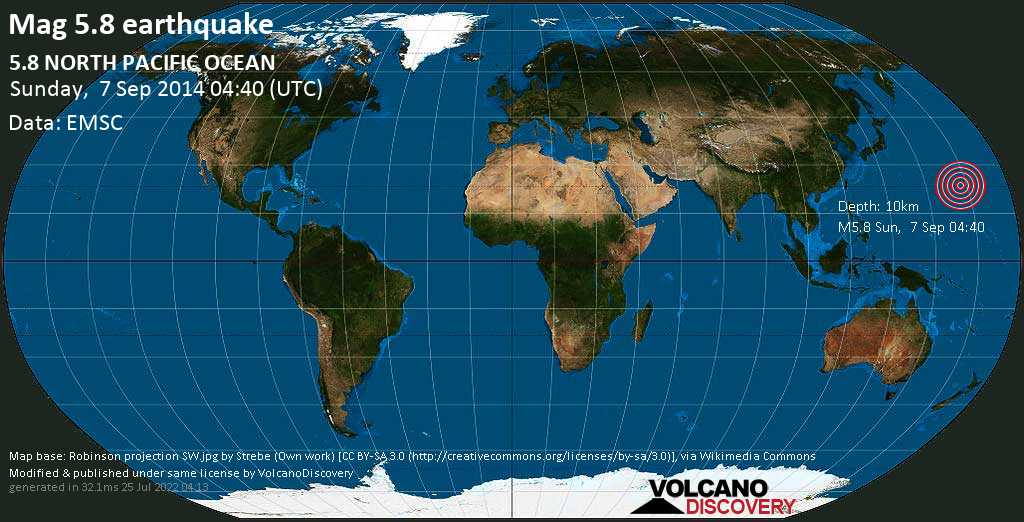 Moderate mag. 5.8 earthquake  - 5.8  NORTH PACIFIC OCEAN on Sunday, 7 September 2014