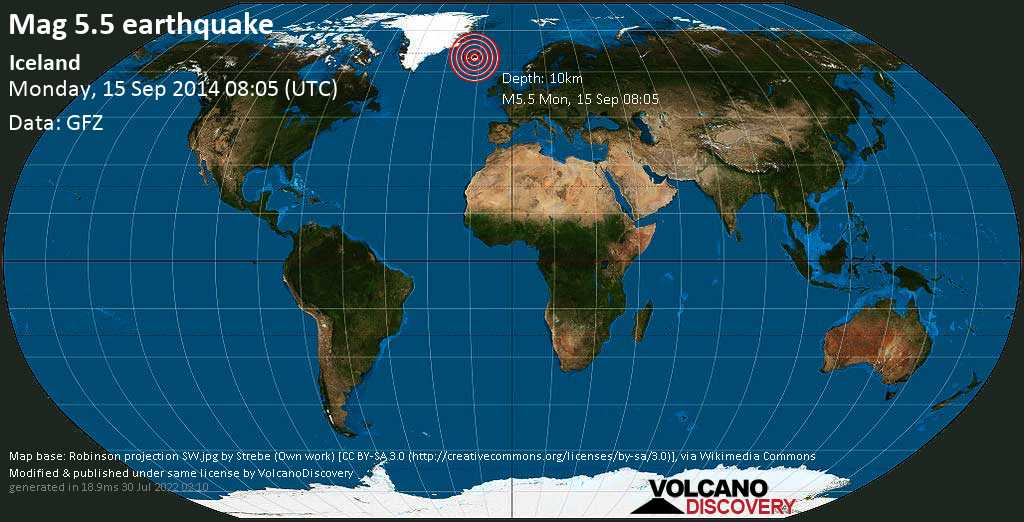 Moderate mag. 5.5 earthquake  - Iceland on Monday, 15 September 2014