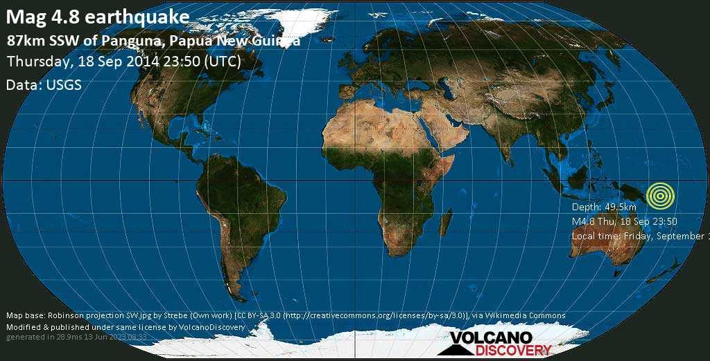 Light mag. 4.8 earthquake  - 87km SSW of Panguna, Papua New Guinea on Thursday, 18 September 2014