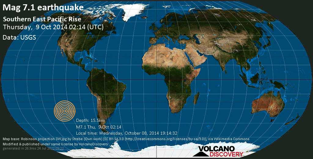 Major mag. 7.1 earthquake  - Southern East Pacific Rise on Thursday, 9 October 2014