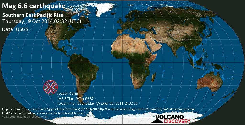 Strong mag. 6.6 earthquake  - Southern East Pacific Rise on Thursday, 9 October 2014