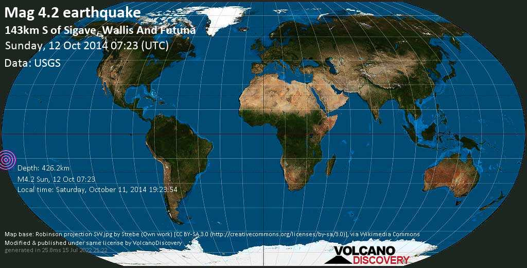 Light mag. 4.2 earthquake  - 143km S of Sigave, Wallis and Futuna on Sunday, 12 October 2014