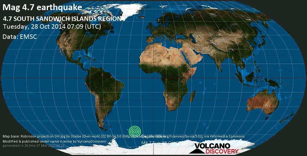 Light mag. 4.7 earthquake  - 4.7  SOUTH SANDWICH ISLANDS REGION on Tuesday, 28 October 2014
