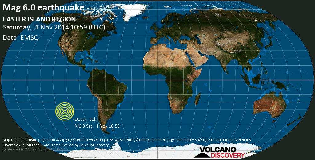 Strong mag. 6.0 earthquake  - EASTER ISLAND REGION on Saturday, 1 November 2014