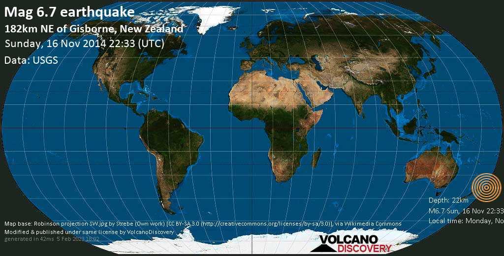 Strong mag. 6.7 earthquake  - 182km NE of Gisborne, New Zealand on Sunday, 16 November 2014