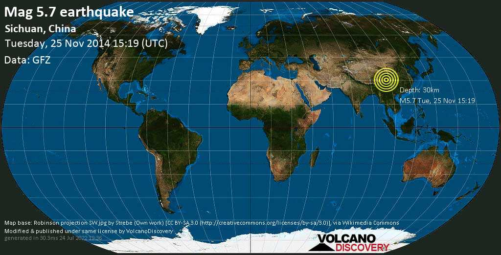 Moderate mag. 5.7 earthquake  - Sichuan, China on Tuesday, 25 November 2014