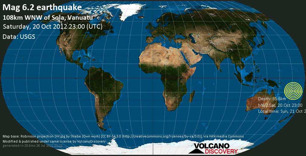Strong mag. 6.2 earthquake  - 108km WNW of Sola, Vanuatu on Saturday, 20 October 2012