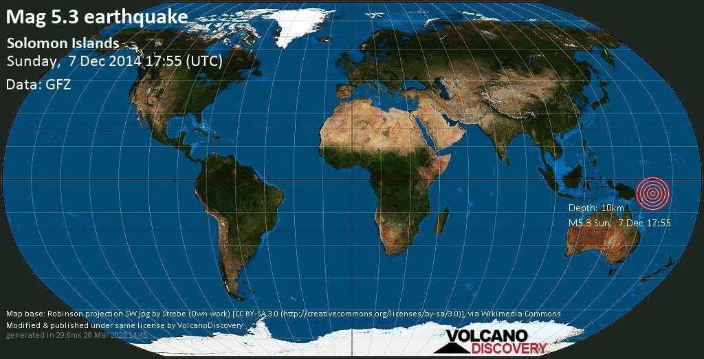 Moderate mag. 5.3 earthquake  - Solomon Islands on Sunday, 7 December 2014