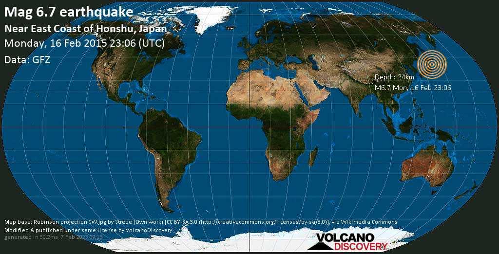 Strong mag. 6.7 earthquake  - Near East Coast of Honshu, Japan on Monday, 16 February 2015