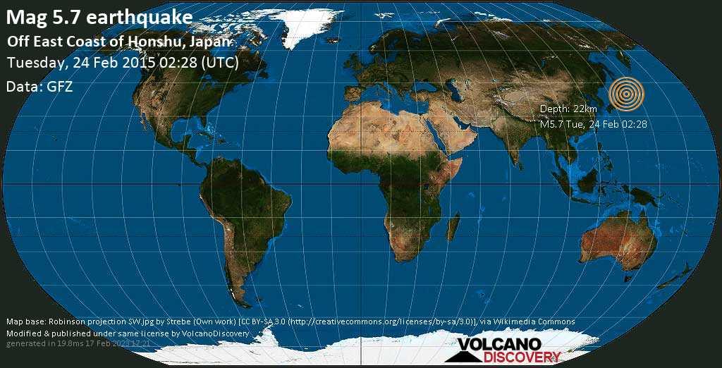 Moderate mag. 5.7 earthquake  - Off East Coast of Honshu, Japan on Tuesday, 24 February 2015