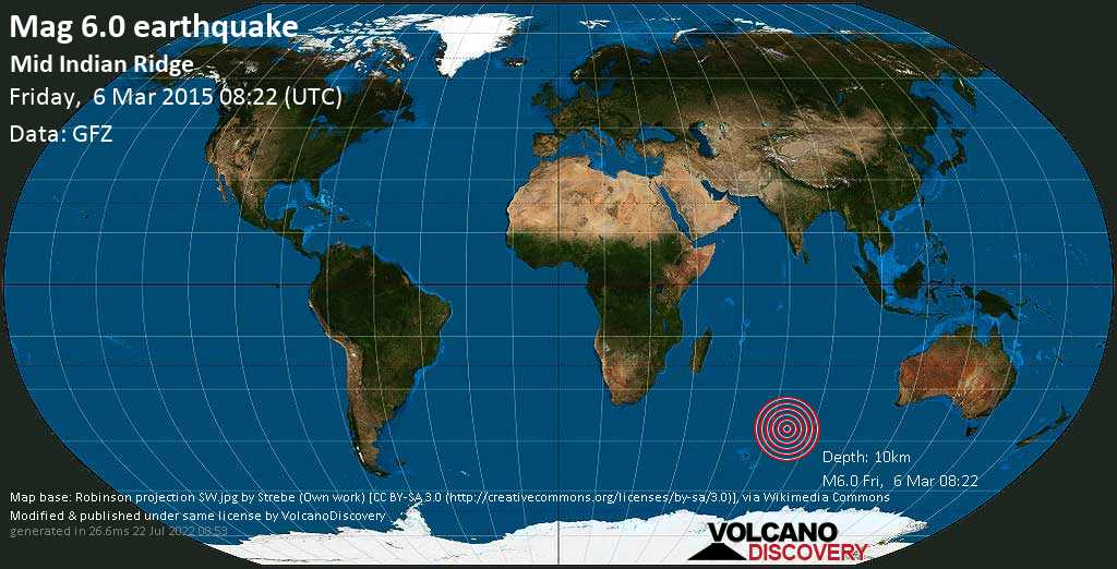 Strong mag. 6.0 earthquake  - Mid Indian Ridge on Friday, 6 March 2015
