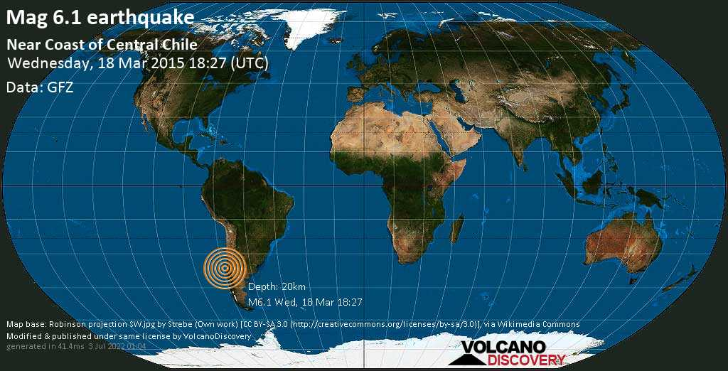 Strong mag. 6.1 earthquake  - Near Coast of Central Chile on Wednesday, 18 March 2015