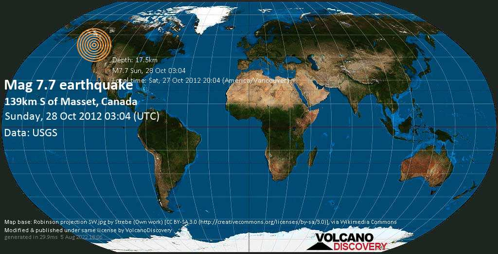 Major mag. 7.7 earthquake  - 139km S of Masset, Canada on Sunday, 28 October 2012