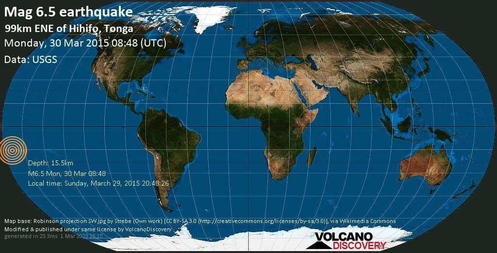 Strong mag. 6.5 earthquake  - 99km ENE of Hihifo, Tonga on Monday, 30 March 2015