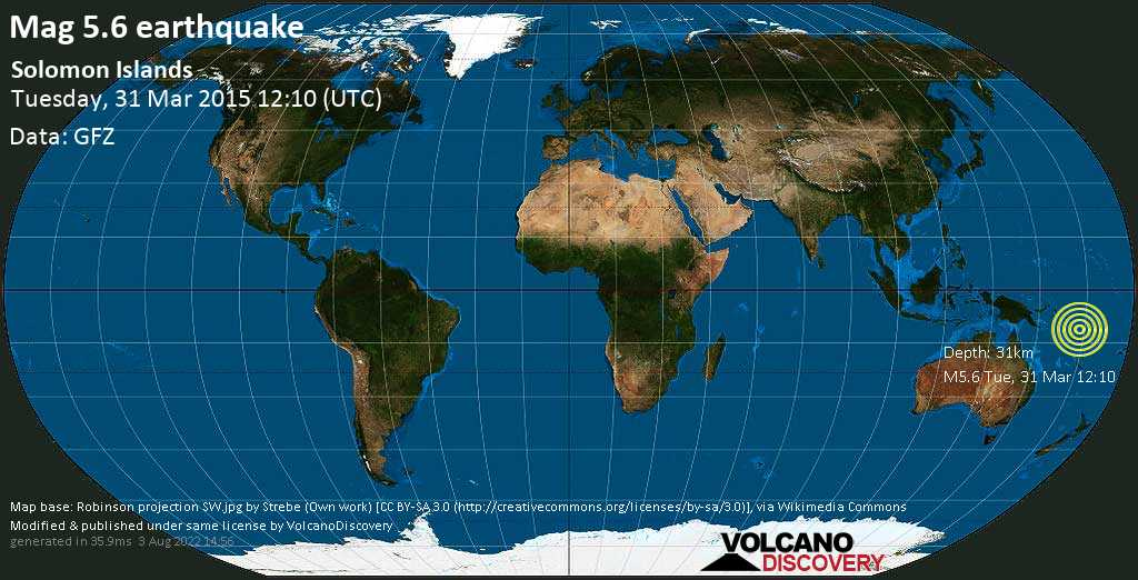 Moderate mag. 5.6 earthquake  - Solomon Islands on Tuesday, 31 March 2015