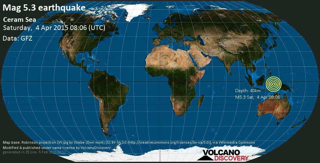 Moderate mag. 5.3 earthquake  - Ceram Sea on Saturday, 4 April 2015