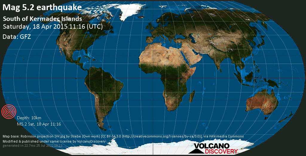 Moderate mag. 5.2 earthquake  - South of Kermadec Islands on Saturday, 18 April 2015