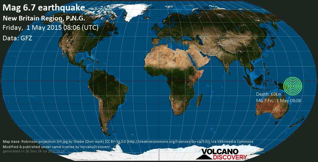 Strong mag. 6.7 earthquake  - New Britain Region, P.N.G. on Friday, 1 May 2015