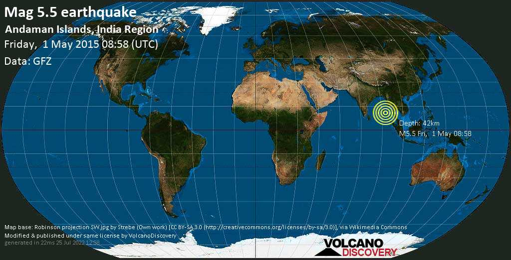 Moderate mag. 5.5 earthquake  - Andaman Islands, India Region on Friday, 1 May 2015