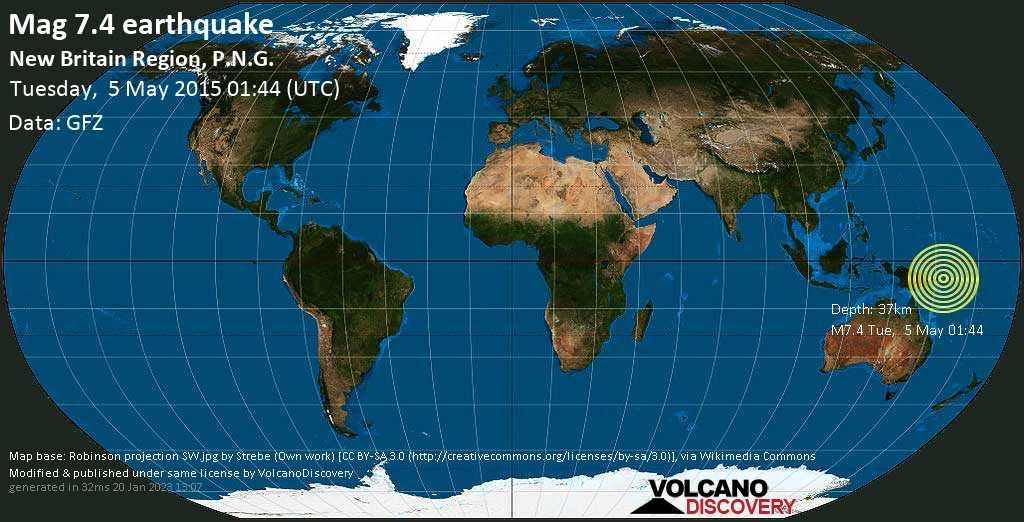 Major mag. 7.4 earthquake  - New Britain Region, P.N.G. on Tuesday, 5 May 2015