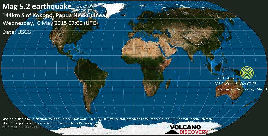 Moderate mag. 5.2 earthquake  - 144km S of Kokopo, Papua New Guinea on Wednesday, 6 May 2015