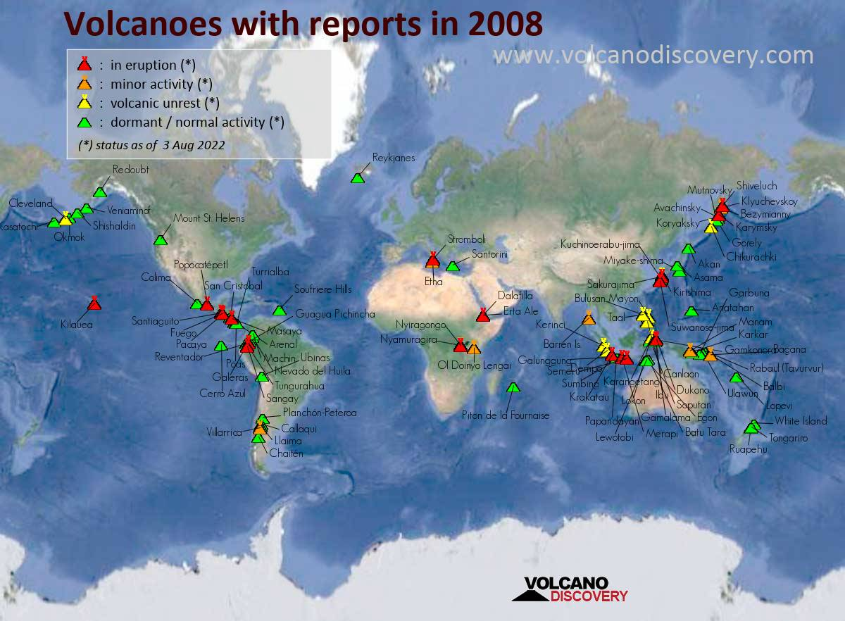 Map of active volcanoes with reports (news or ash advisories) in 2008