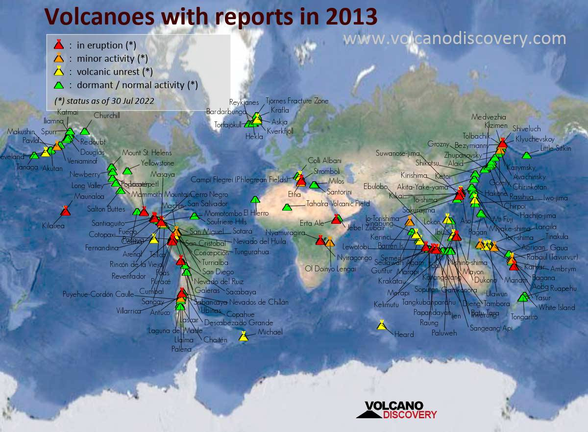 Map of active volcanoes with reports (news or ash advisories) in 2013